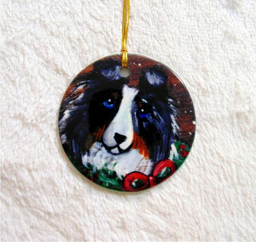 """Christmas Traditions"" Blue Merle Shetland Sheepdog Ceramic Ornament Round"
