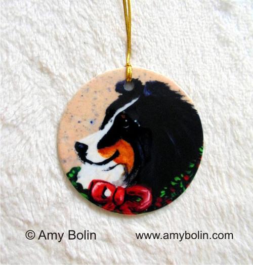 """Christmas Traditions"" Tri Color Shetland Sheepdog Ceramic Ornament Round"