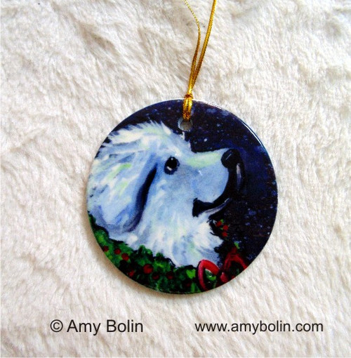 """""""Christmas Traditions"""" Great Pyrenees Ceramic Ornament Round"""