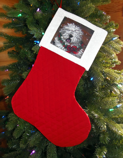 """Christmas Traditions""   Old English Sheepdog   Large Christmas Stocking By Dawn Johnson"