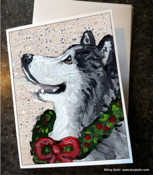 """""""Christmas Traditions"""" Alaskan Malamute Note Cards"""