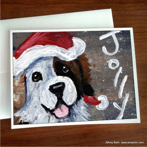 """Christmas: Jolly Half Mask"" Saint Bernard Note Cards"