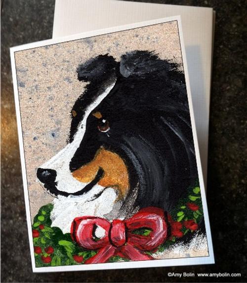 """Christmas Traditions"" Tri Color Shetland Sheepdog Note Cards"