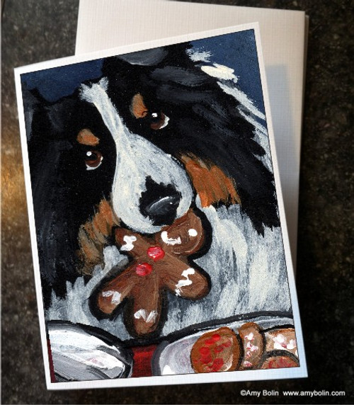 """Christmas: Santa's Cookies"" Tri Color Shetland Sheepdog Note Cards"