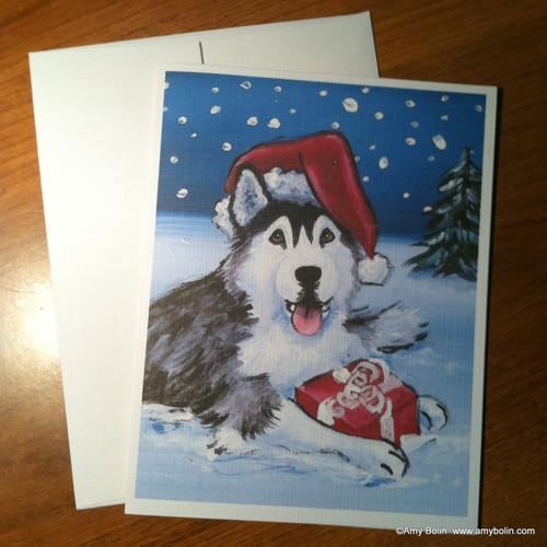 """""""Christmas: Merry Christmas"""" Siberian Husky (brown eye) Note Cards"""
