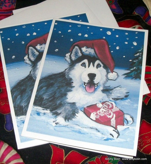 """Christmas: Merry Christmas"" Siberian Husky (blue eye) Note Cards"