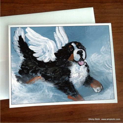 """""""Playful Angel"""" Bernese Mountain Dog Note Cards"""