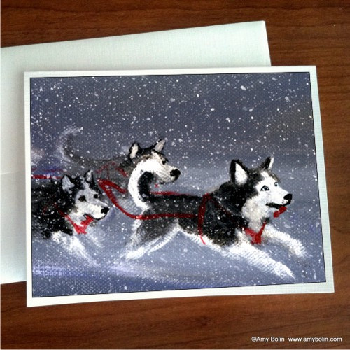 """Mush"" Siberian Husky (blue eye) Note Cards"