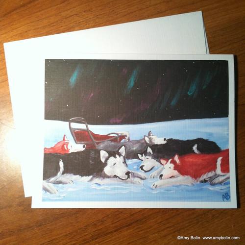 """""""Sweet Dreams"""" Alaskan Malamute Note Cards"""