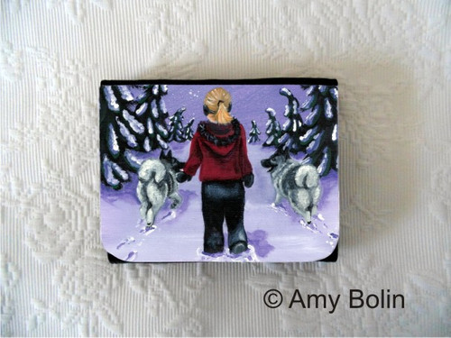 """A Snowy Walk"" Norwegian Elkhound Small Organizer Wallet"