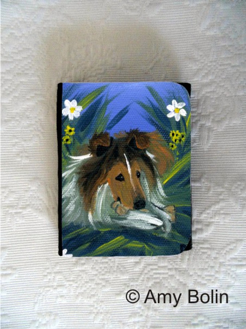 """A Secret Treat"" Sable Shetland Sheepdog Small Organizer Wallet"