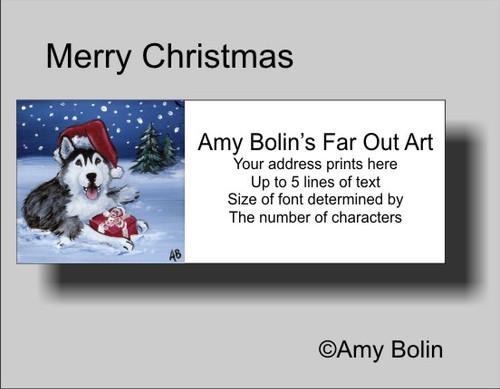"""""""Christmas: Merry Christmas"""" Siberian Husky (brown eye) Address Labels"""