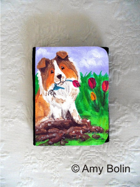 """Little Gardener"" Sable Shetland Sheepdog Small Organizer Wallet"