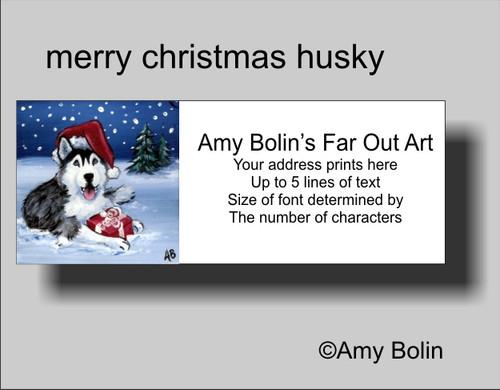 """Christmas: Merry Christmas"" Siberian Husky (blue eye) Address Labels"