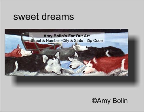 """Sweet Dreams"" Alaskan Malamute Address Labels"