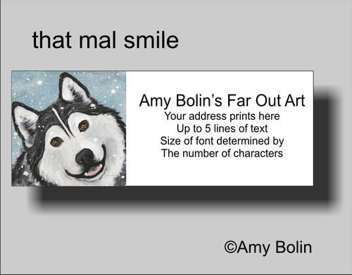 """That Mal Smile"" Alaskan Malamute Address Labels"