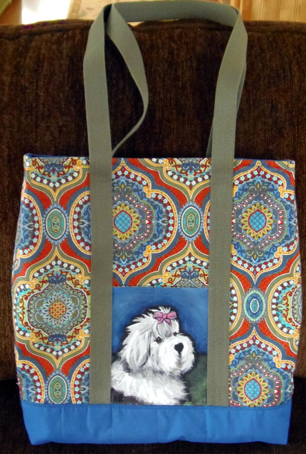 """Handmade quilted Purse/Tote    """"All Gussied Up""""     Old English Sheepdog     By Dawn Johnson"""