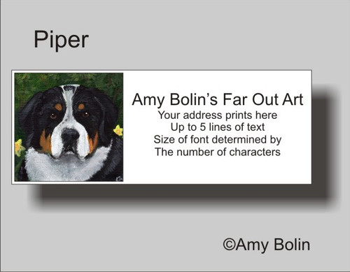 """""""Piper"""" Greater Swiss Mountain Dog Address Labels"""