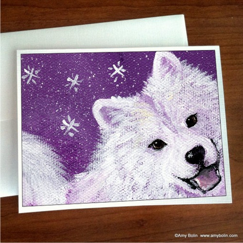 """""""Wish Upon A Snowflake"""" Samoyed Note Cards"""