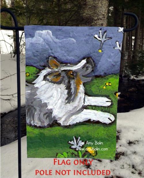 """Spring's Simple Pleasures"" Blue Merle Shetland Sheepdog Garden Flag"