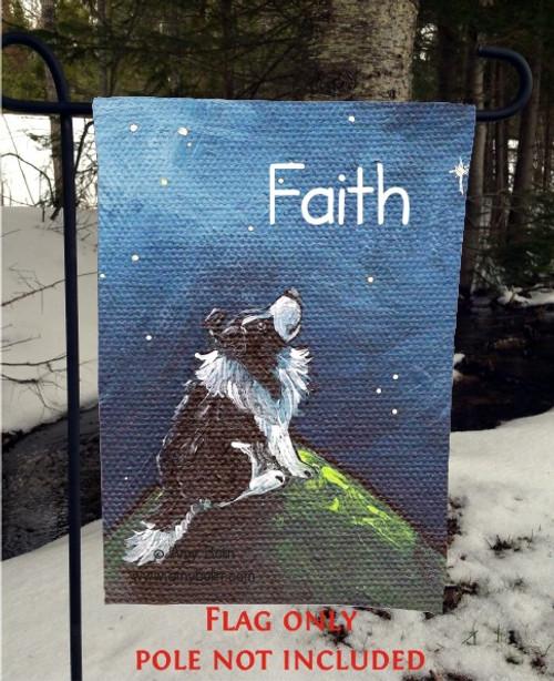 """Faith"" Bi Black Shetland Sheepdog Garden Flag"