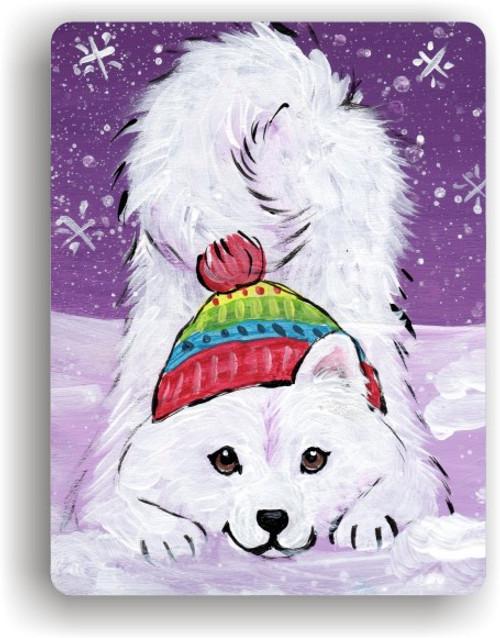 """""""Playful Pup"""" Samoyed Magnet"""