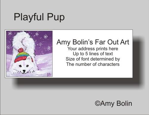 """Playful Pup"" Samoyed Address Labels"