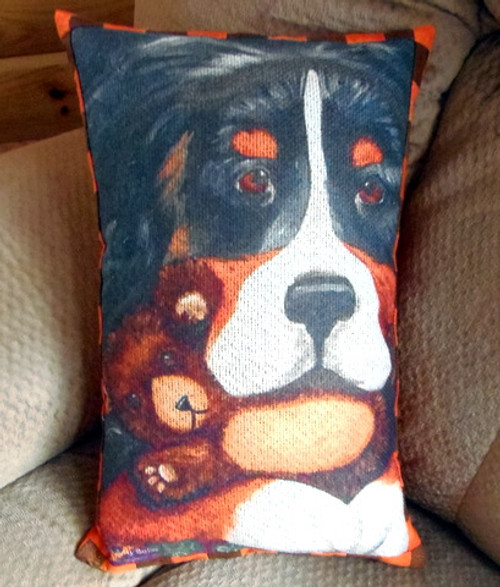 """Handmade Quilted 12"""" by 16"""" Pillow    """"Teddy and Bear""""   Bernese Mountain Dog     By Dawn Johnson"""