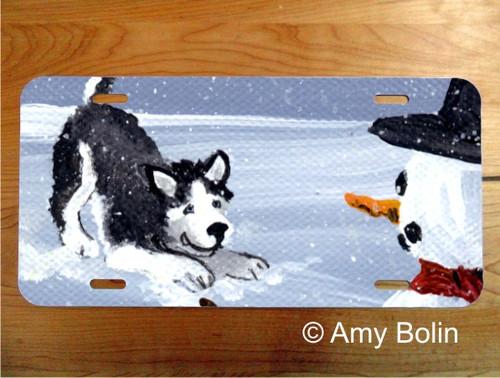 """My Snowy Friend"" Siberian Husky (red) License Plate"