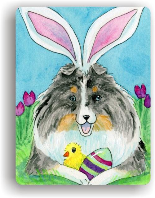 """""""Easter Sheltie"""" Blue Merle Sheltie Magnet"""