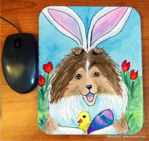 """""""Easter Sheltie"""" Sable Shetland Sheepdog Mouse Pad"""