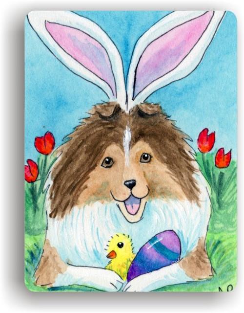 """Easter Sheltie"" Sable Sheltie Magnet"