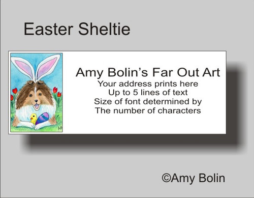 """Easter Sheltie"" Sable Shetland Sheepdog Address Labels"
