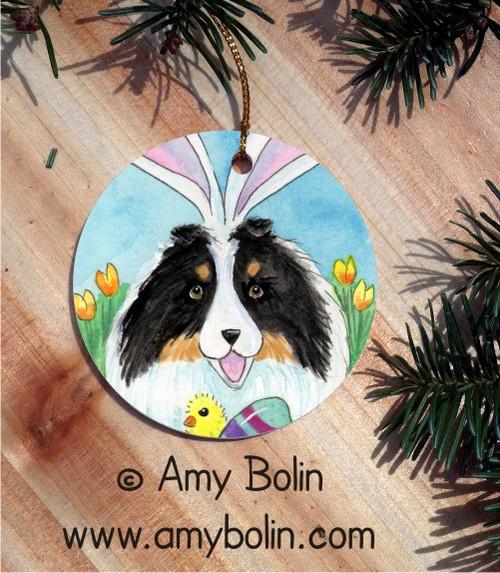 """""""Easter Sheltie"""" Tri Color Shetland Sheepdog Ceramic Ornament Round"""