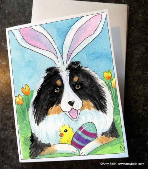 """""""Easter Sheltie"""" Tri Color Shetland Sheepdog Note Cards"""