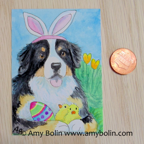 """""""Easter Bernie"""" Bernese Mountain Dog Original Painting Watercolor ACEO by Amy Bolin"""