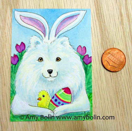 """""""Easter Sammy"""" Samoyed Original Painting Watercolor ACEO by Amy Bolin"""