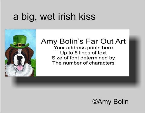 """""""St. Patrick's Day: A Big, Wet Irish Kiss"""" Saint Bernard Address Labels"""