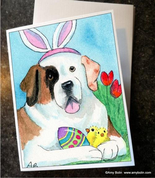 """Easter Saint Half Mask"" Saint Bernard Note Cards"
