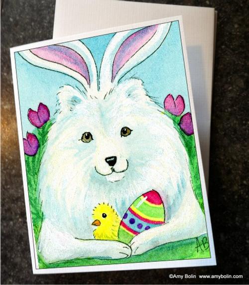 """Easter Sammy"" Samoyed Note Cards"