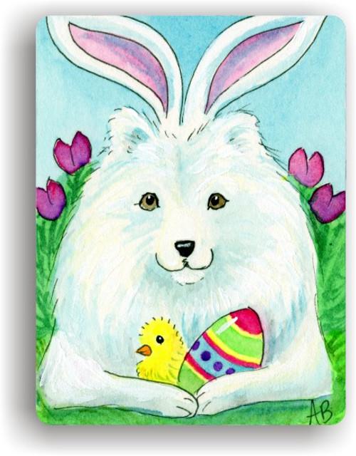 """""""Easter Sammy"""" Samoyed Magnet"""