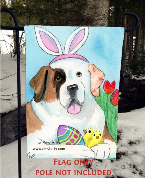 """""""Easter Saint"""" Saint Bernard Garden Flag"""