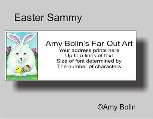 """Easter Sammy"" Samoyed Address Labels"