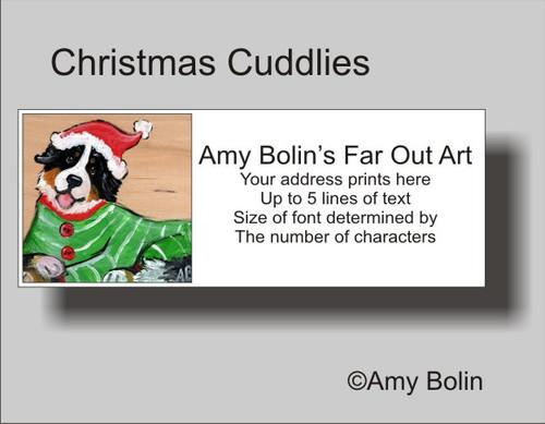 """Christmas Cuddlies"" Bernese Mountain Dog Address Labels"