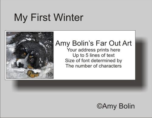 """My First Winter"" Bernese Mountain Dog Address Labels"