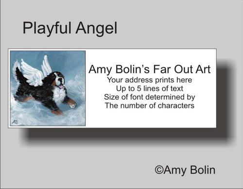 """Playful Angel"" Bernese Mountain Dog Address Labels"