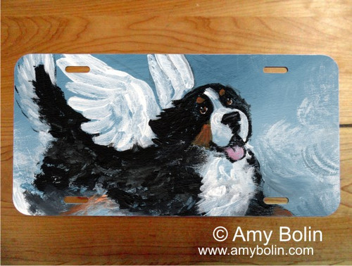 LICENSE PLATE · PLAYFUL ANGEL · BERNESE MOUNTAIN DOG · AMY BOLIN