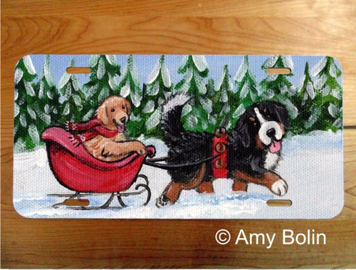"""A Wintry Ride"" Bernese Mountain Dog & Golden Retriever License Plate"
