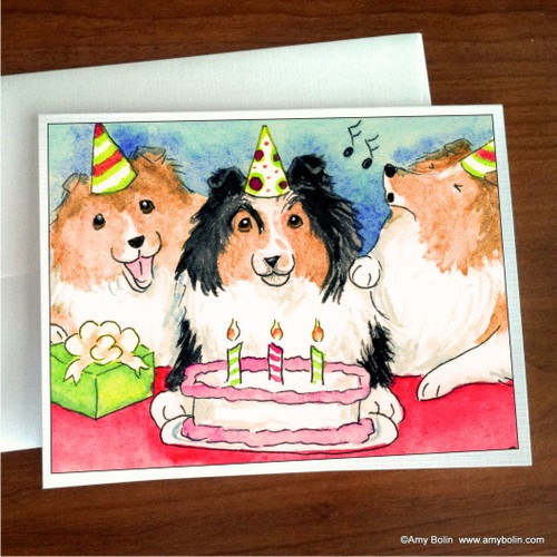 """""""Birthday: Happy Birthday To You"""" Sable, Tri Color Shetland Sheepdog Note Cards"""