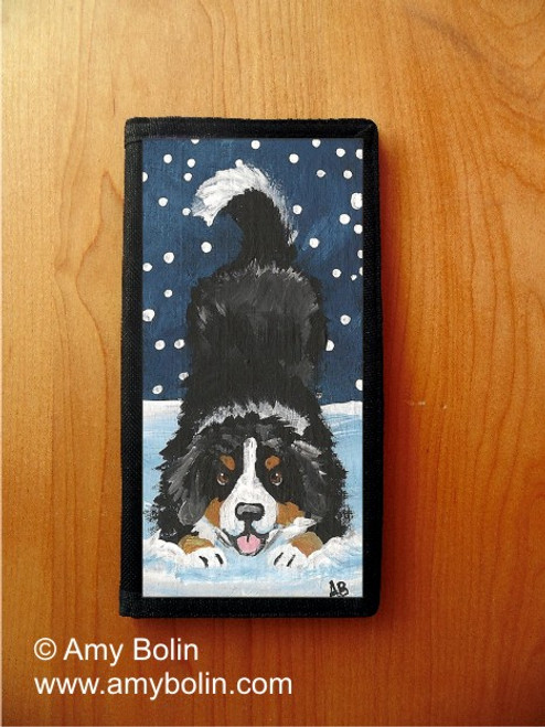 """""""Let's Play"""" Bernese Mountain Dog Checkbook Cover"""